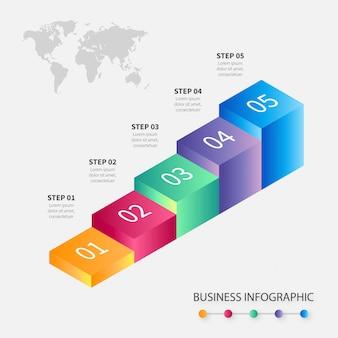 Moderna infografica passi di affari colorati