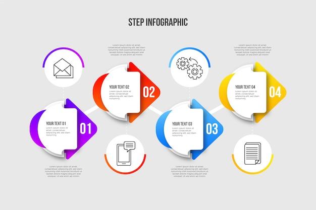 Moderna infografica passi in gradiente