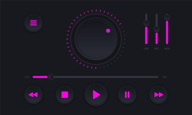 Moderna interfaccia per lettore audio. pannello di controllo del lettore audio di colore scuro.
