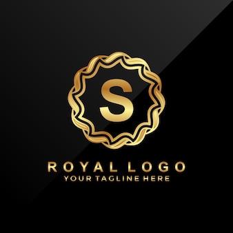 Moderna, lettera di lusso s nel logo del cerchio