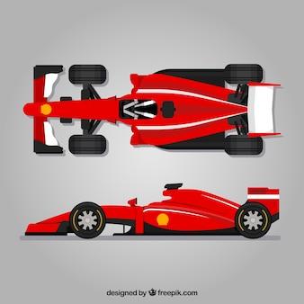 Moderna macchina da corsa di formula 1 con design piatto