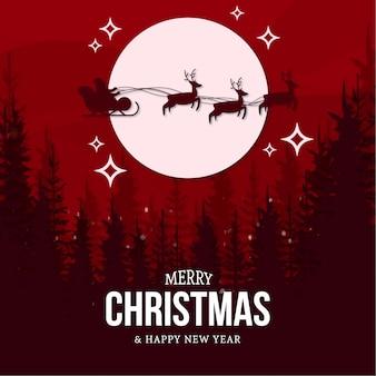 Moderna merry christmas card con paesaggio
