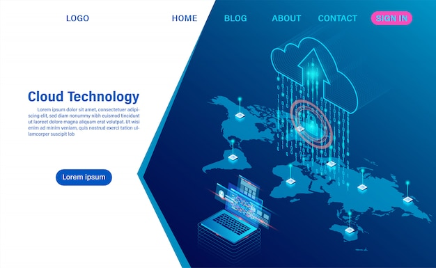 Moderna tecnologia cloud e networking. tecnologia informatica online. concetto di elaborazione del flusso di grandi quantità di dati, servizi di dati di internet
