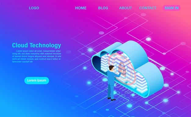 Moderna tecnologia cloud e networking. tecnologia informatica online. grande concetto di elaborazione del flusso di dati, illustrazione di servizi dati di internet