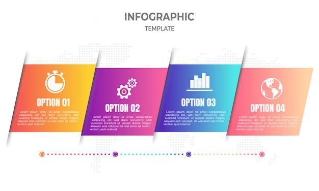 Moderna timeline infografica 4 opzioni