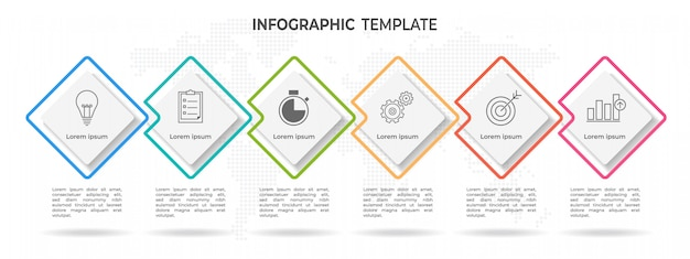 Moderna timeline infografica 6 opzioni