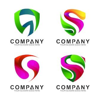 Moderni modelli di logo s a scudo