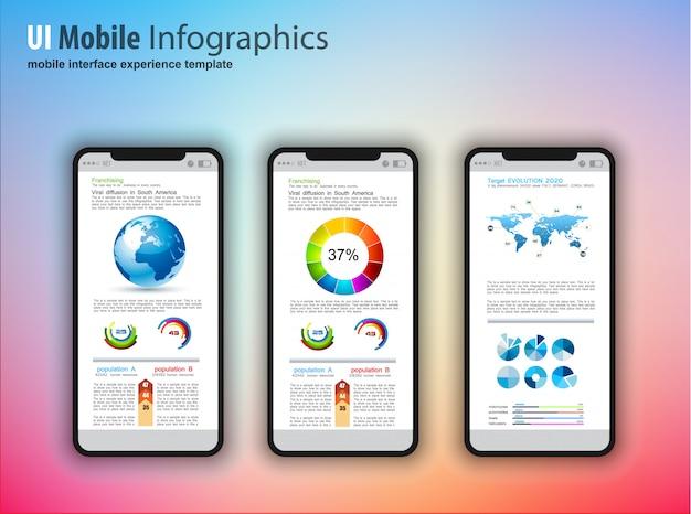 Moderni telefoni touchscreen con elementi di design tecnologia infografica