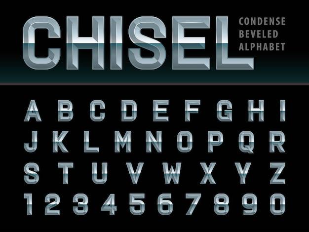 Moderno alfabeto cesellato lettere e numeri, caratteri stilizzati smussati