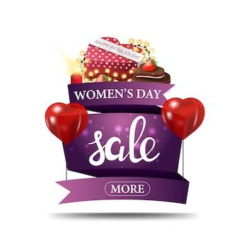 Moderno banner di sconto viola per la giornata della donna