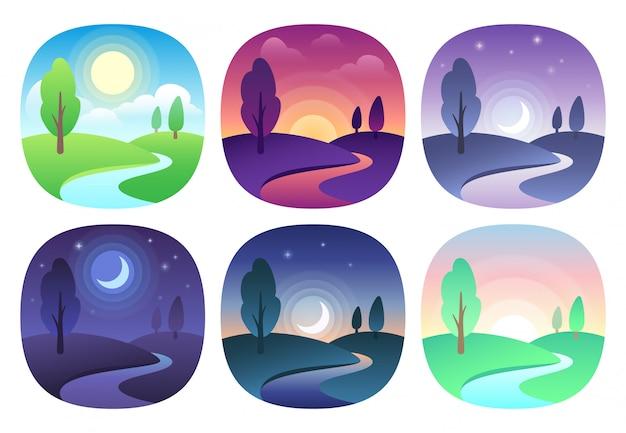 Moderno bellissimo paesaggio con gradienti. icona dell'alba, dell'alba, del mattino, del giorno, di mezzogiorno, del tramonto, del tramonto e della notte. icone di vettore di tempo di sun impostate