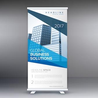 Moderno blu standee rimboccarsi banner design con forme geometriche