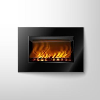 Moderno caminetto elettronico nero su una parete con un fuoco ardente per interni in stile hitech