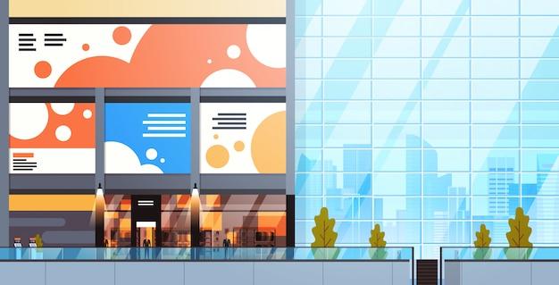 Moderno centro commerciale interno grande negozio al dettaglio urbano