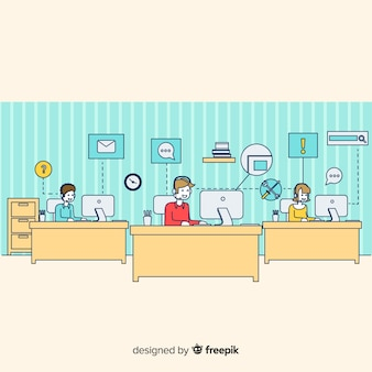 Moderno concetto di call center piatta