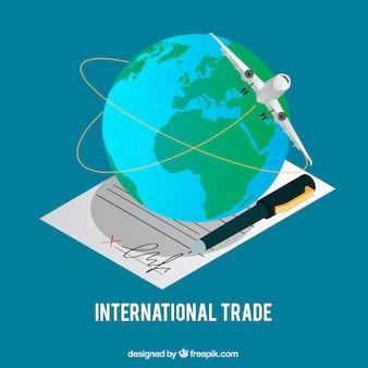 Moderno concetto di commercio internazionale con design piatto