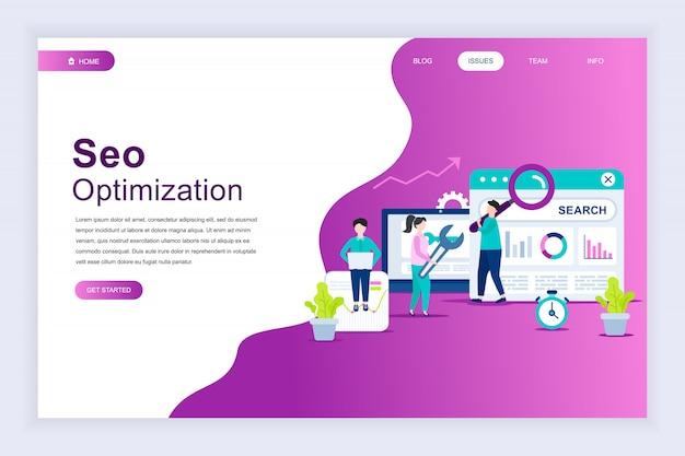 Moderno concetto di design piatto di analisi seo per sito web