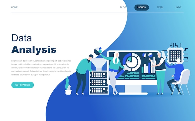 Moderno concetto di design piatto di big data analysis