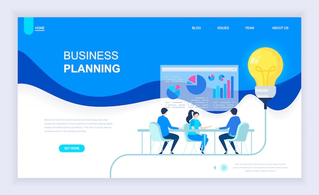 Moderno concetto di design piatto di business planning
