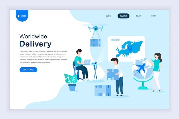 Moderno concetto di design piatto di consegna in tutto il mondo per il sito web