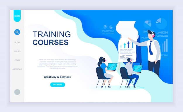 Moderno concetto di design piatto di corsi di formazione