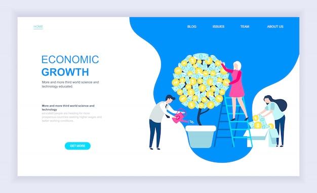 Moderno concetto di design piatto di crescita economica