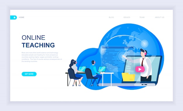 Moderno concetto di design piatto di insegnamento online