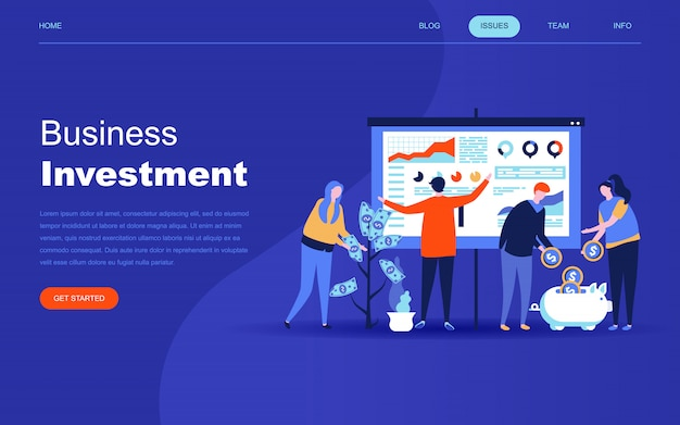 Moderno concetto di design piatto di investimenti aziendali