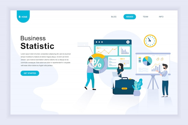 Moderno concetto di design piatto di statistica aziendale per sito web