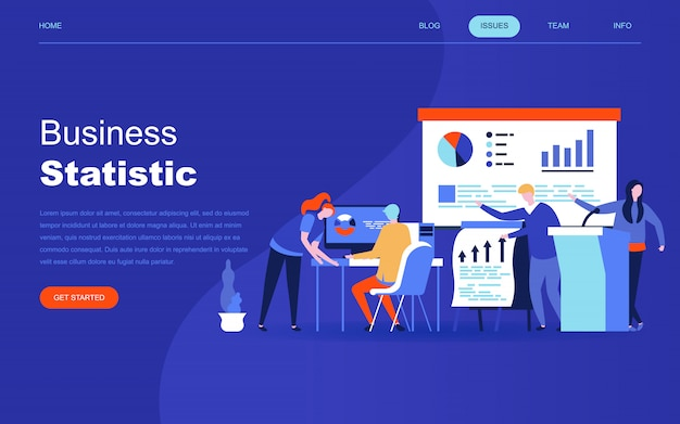 Moderno concetto di design piatto di statistica aziendale
