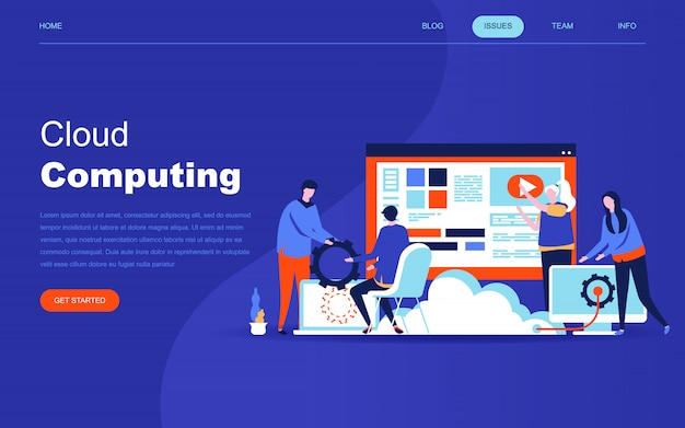 Moderno concetto di design piatto di tecnologia cloud