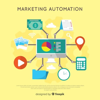 Moderno concetto di marketing online con design piatto
