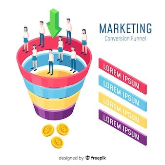 Moderno concetto di marketing online con vista isometrica