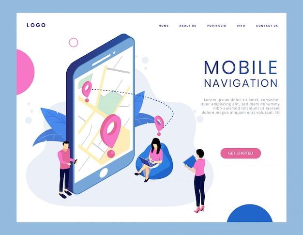 Moderno concetto isometrico di navigazione mobile