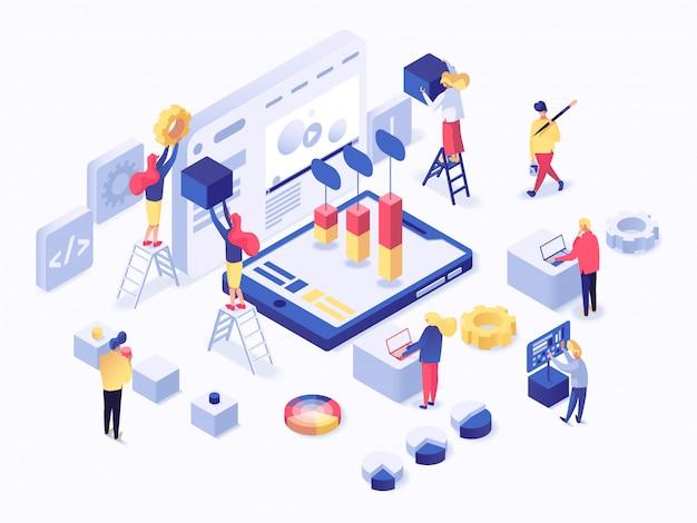 Moderno concetto isometrico piatto di sviluppo web