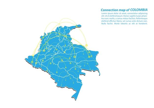 Moderno di colombia mappa connessioni di rete design