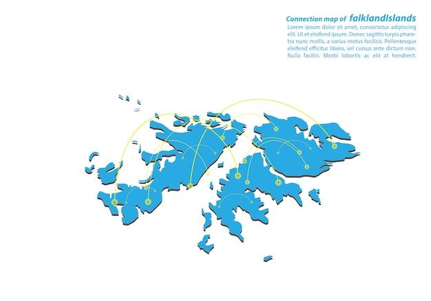 Moderno di isole falkland mappa connessioni di rete design