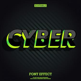 Moderno effetto di carattere cyber lucido nero con luce verde