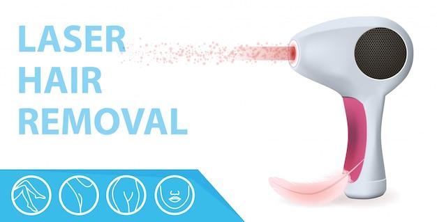 Moderno epilatore laser con raggi, piume e icone
