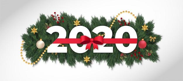 Moderno felice anno nuovo 2020 con nastro rosso