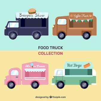 Moderno insieme di camion di alimenti