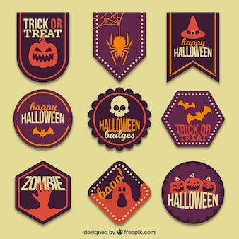 Moderno insieme di etichette di halloween