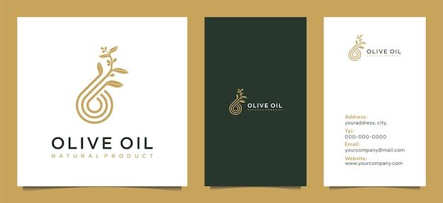 Moderno logo di olio d'oliva con combinazione di foglie e biglietto da visita