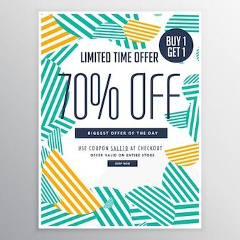 Moderno modello di brochure promozionale di vendita di sconto alla moda con linee astratte forme