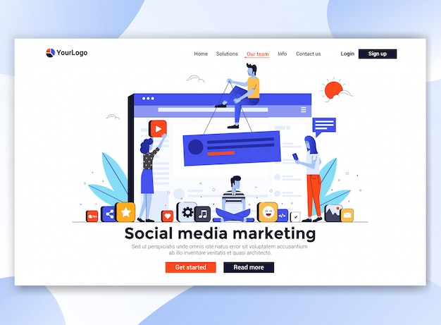 Moderno modello di sito web - social media marketing