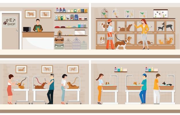 Moderno negozio di animali con gabbie di animali.