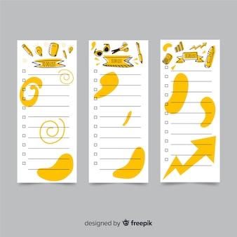 Moderno per fare la raccolta di liste con stile disegnato a mano