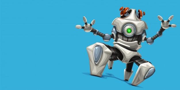 Moderno robot a quattro gambe bianco