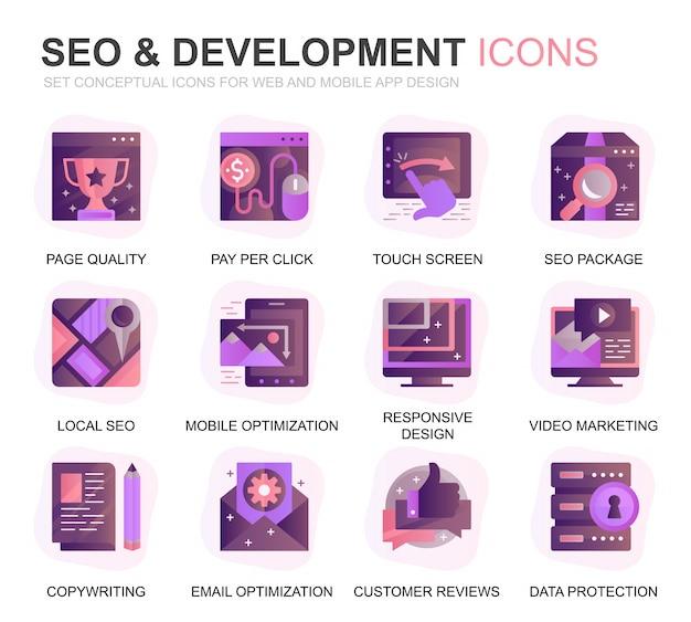 Moderno set seo e icone piane di gradiente di sviluppo