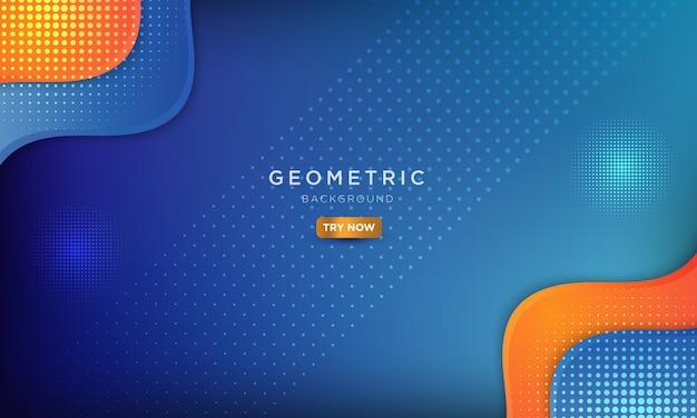 Moderno sfondo liquido con onda dinamica, astratto blu e arancione